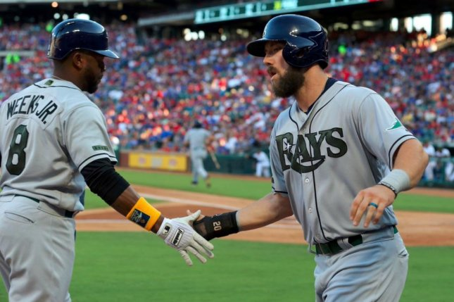 A five-run seventh inning lifted the Rays over the Rangers on Monday. Photo courtesy Tampa Bay Rays/Twitter