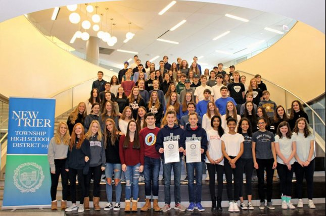 An Illinois high school class broke two Guinness World Records due to including 44 sets of twins and one set of triplets. Photo courtesy of New Trier High School