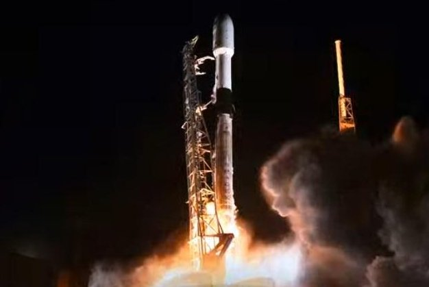 SpaceX launched a Falcon 9 rocket Monday night from Cape Canaveral Air Force Station, Fla., carrying a third batch of 60 Starlink satellites -- the first launch of 2020. Photo courtesy of SpaceX