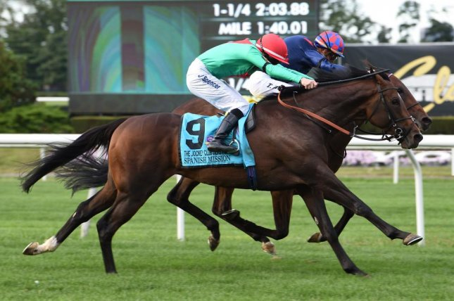 Spanish Mission leads the European sweep in Saturday's $1 million Jockey Club Derby at Belmont Park. Photo courtesy of New York Racing Association
