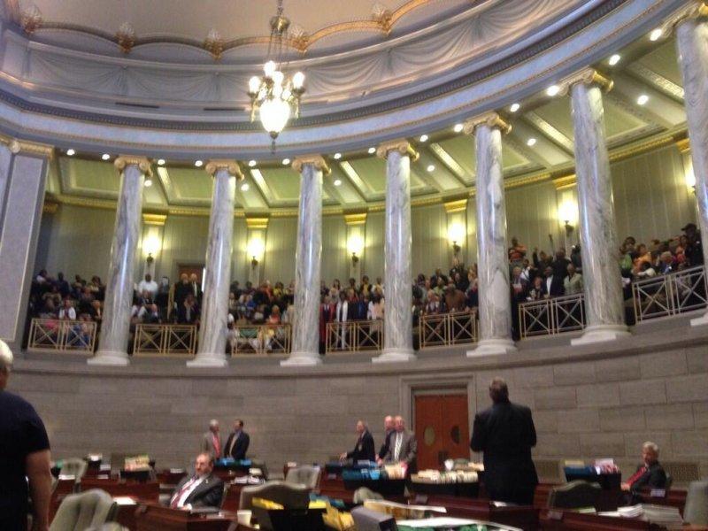Protesters halt the Missouri Senate on May 6, 2014. (Twitter/Jonathan Shorman)