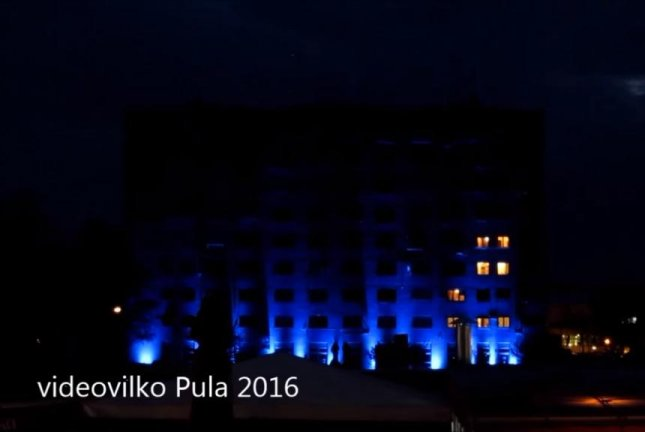 Residents of a Croatian apartment building create a giant-seized tribute to Tetris. Screenshot: Newsflare