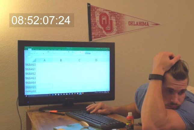 An Oklahoma man attempts to determine how long it takes to scroll all the way to the bottom of a Microsoft Excel spreadsheet. Screenshot: Storyful