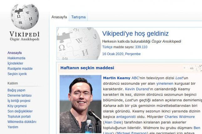 A screenshot of the Turkish-language Wikipedia site on Thursday, after the government in Ankara ended a blackout of the information website. Image courtesy Wikipedia/Wikimedia Foundation