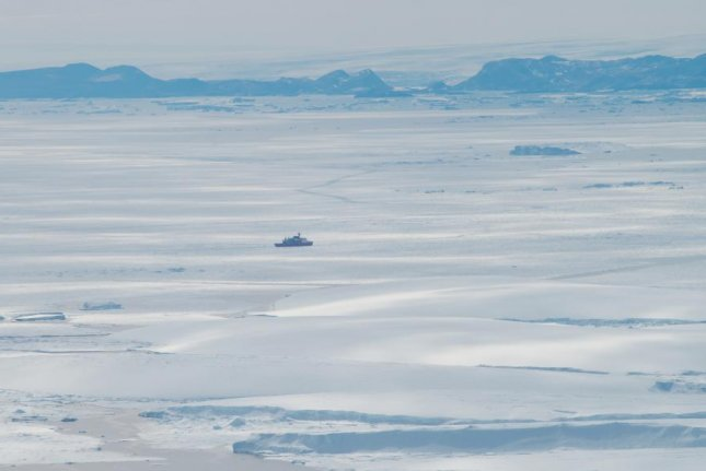 The Japanese icebreaker ship Shirase is pictured inLützow-Holm Bay, nearShirase Glacier, during the 58th Japanese Antarctic Research Expedition, which was conducted in 2017. Photo by Kazuya Ono