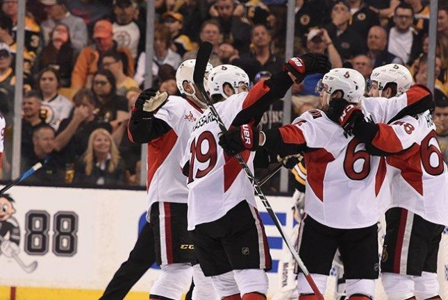 The Ottawa Senators celebrate Bobby Ryan's OT goal. Photo courtesy NHL.com via Twitter