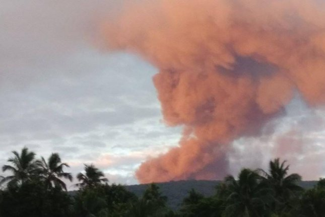 A volcano on the island of Ambae is prompting the government-forced evacuation of the entire island in Vanuatu. Photo courtesy Vanuatu Red Cross/Facebook