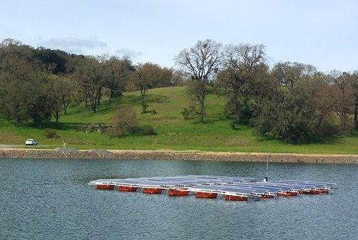 Sonoma County Water Agency's Oceanview water treatment pond was the test bed for this floating solar panel array last year. A final installation is expected to be complete by the end of 2017, with an output of 1 megawatt of solar electricity. Photo courtesy of Sonoma County Water Agency