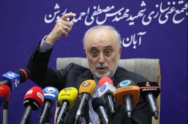 Iran's Atomic Energy Organization chief Ali Akbar Salehi, shown here speaking in Iran last week, said Sunday work has started on a second reactor at its Bushehr plant in southern Iran. Photo by Iran Atomic Energy Organization/EPA-EFE
