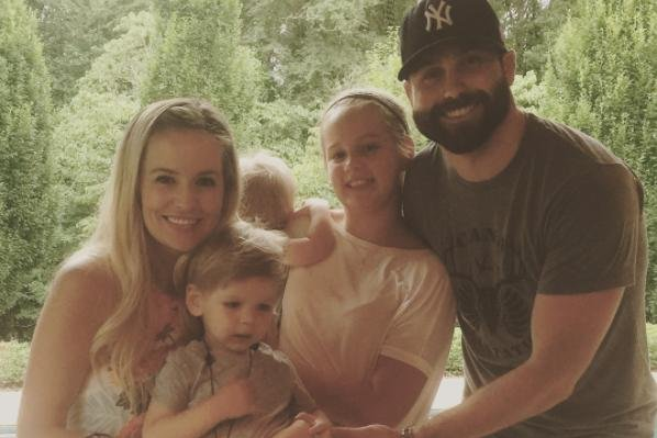 Emily Maynard with husband Tyler Johnson, daughter Ricki and sons Jennings and Gibson on July 17. The reality star is pregnant with her fourth child. Photo by Emily Maynard/Instagram