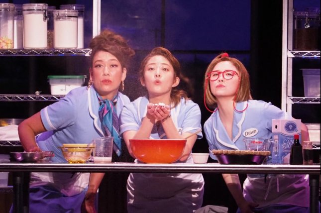 A scene from the Japanese production of the stage musical, Waitress. Left to right, LiLiCo, Mitsuki Takahata and Emma Miyazawa.Photo courtesy of Boneau/Bryan-Brown