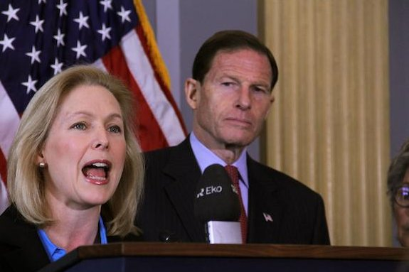 Sens. Kirsten Gillibrand, D-N.Y. and Richard Blumenthal, D-Conn., spoke on the urgent need for reform in how military sexual assault is prosecuted. (Christophe Haubursin/Medill)