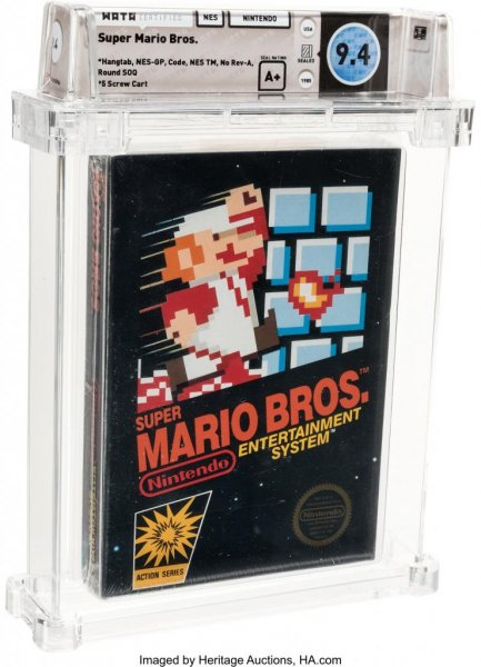 A sealed copy of 1985 Nintendo game Super Mario Bros. set a new record for video game sales when it was auctioned for $114,000. Photo courtesy of Heritage Auctions