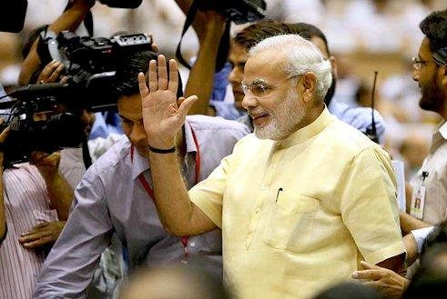 Narendra Modi wil be sworn in with his cabinet of ministers Monday 8:30 a.m. EST. (Credit:Bhartiya Janta Party)