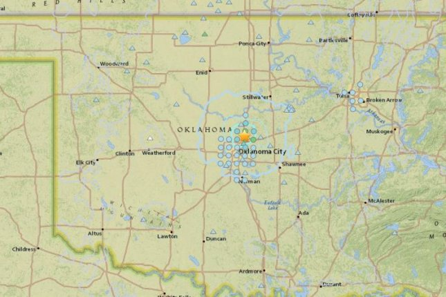 U.S. Geological Survey records a handful of tremors in shale-rich Oklahoma since early Thursday morning. Map courtesy of the USGS
