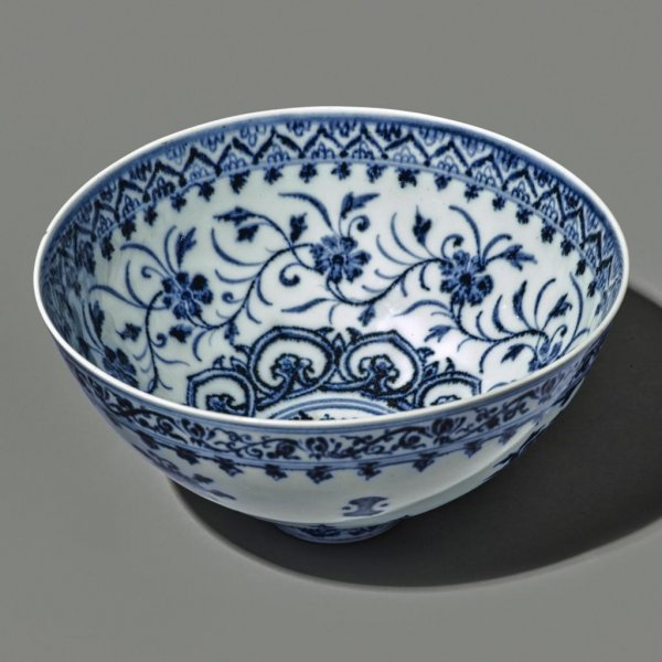 A floral bowl purchased for $35 at a Connecticut yard sale was identified as a 15th century Chinese antique and is expected to sell for up to $500,000. Photo courtesy of Sotheby's
