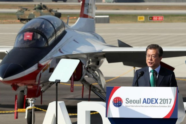 South Korean President Moon Jae-in delivers a speech on Tuesday at the opening ceremony of an international aeronautics exhibition south of Seoul, South Korea. Photo by Yonhap
