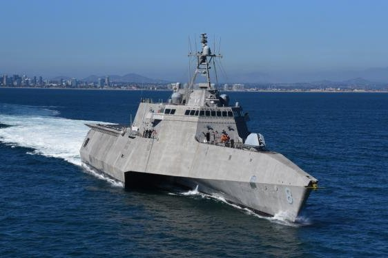 The Littoral Combat Ship USS Montgomery leaves Naval Base San Diego on it's way to the Pacific Ocean to conduct routine operations and training. Photo by Muckley Photography/U.S. Navy