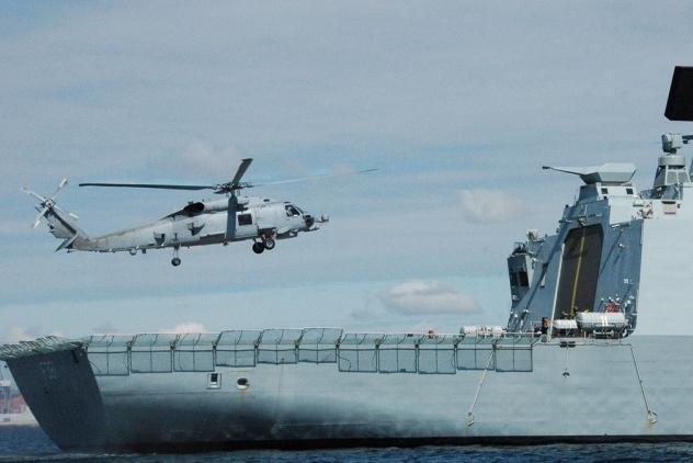 An MH-60R Seahawk lands aboard a Danish Navy frigate. Photo courtesy Lockheed Martin
