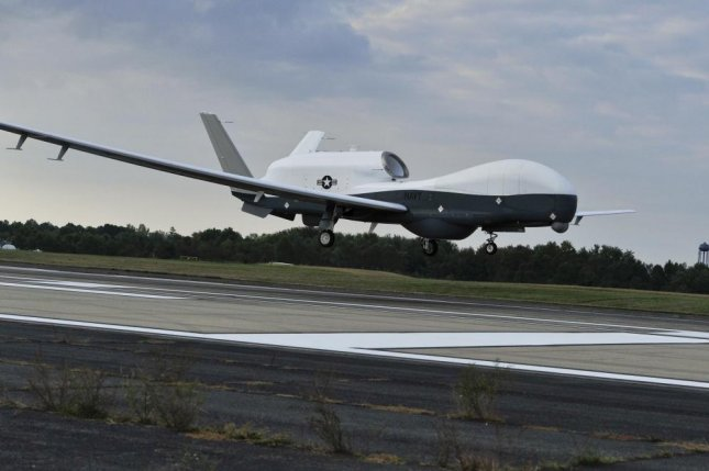 A U.S. Navy MQ-4C Triton unmanned aircraft system prepares to land at Naval Air Station Patuxent River, Md., Sept. 18, 2014, after completing a cross-country flight from California. Photo by Kelly Schindler/U.S. Navy.