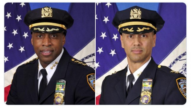 Officers Rodney Harrison (L) and Fausto Pichardo were appointed to leadership positions in the New York City Police Department. Photo courtesy NYPD/Terence Monahan/Twitter