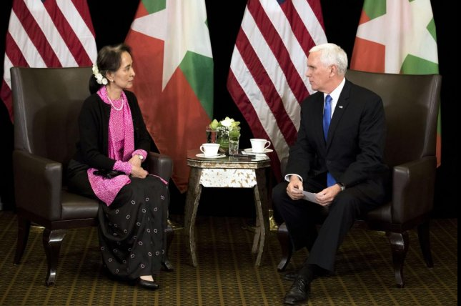 U.S. Vice President Mike Pence meets Myanmar leader Aung San Suu Kyi Wednesday during their bilateral meeting on the sidelines of the 33rd Association of Southeast Asian Nations summit. Photo by Bernat Armangue/EPA-EFE