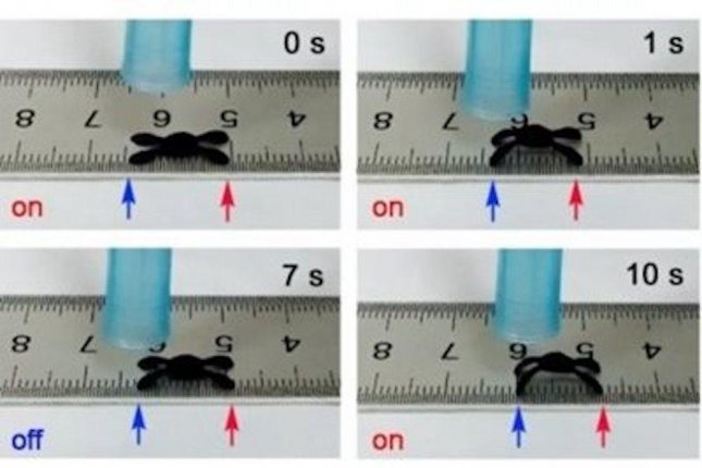 The graphene spider robot bends and flattens in response to changes in humidity, creating a crawling motion. Photo by Yong-Lai Zhang/Jilin University