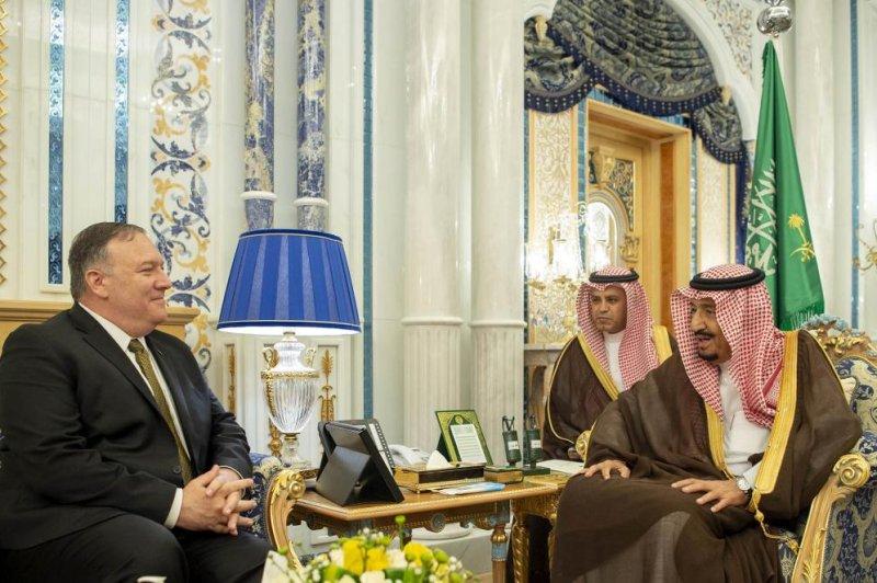 Saudi King Salman speaks Monday with U.S. Secretary of State Mike Pompeo in Jeddah, Saudi Arabia. Photo by Bandar Al-Galoud/EPA-EFE