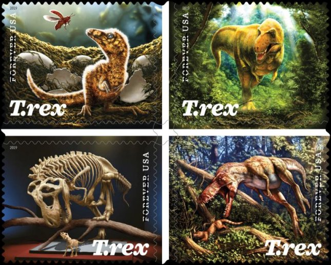 The collection of four Tyrannosaurus rex stamps will be issued Aug. 29. Photo courtesy of U.S. Postal Service/Website