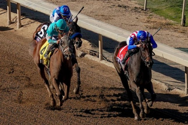 Bast (No. 6), shown finishing third in the Breeders' Cup Juvenile Fillies, is the favorite for Saturday's Grade II Santa Ynez at Santa Anita, a Kentucky Oaks prep. Photo courtesy of Breeders' Cup