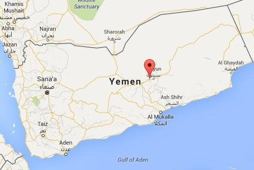 An Islamic State affiliate claimed responsibility for killing at least 12 pro-government soldiers near the town of Shibam, in eastern Yemen's Hadramawt province, on Nov. 20, 2015. Yemeni officials said the attack was carried out by al-Qaida in the Arabian Peninsula, an IS rival. Google Maps image