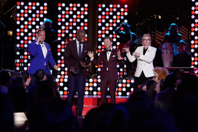 Matt Iseman, Akbar Gbajabiamila, Chris Hardwick and Jane Lynch took part in last week's Red Nose Day Special, which earned more than $42 million. Photo by Virginia Sherwood/NBC
