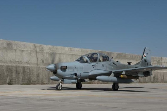 An Afghan A-29 Super Tucano taxis toward the flightline at Kabul Air Wing after being loaded with munitions Sept. 12, 2017, in Kabul Afghanistan. Photo by Staff Sgt. Alexander Riedel/U.S. Air Forces Central Command Public Affairs/U.S. Air Force