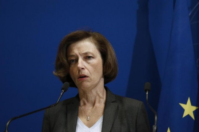 French Defense Minister Florence Parly holds a press conference at the Defense Ministry in Paris Tuesday following the deaths of 13 French soldiers in helicopter crash during counter-terrorism operation against jihadists in Mali. Photo by Yoan Valat/EPA-EFE
