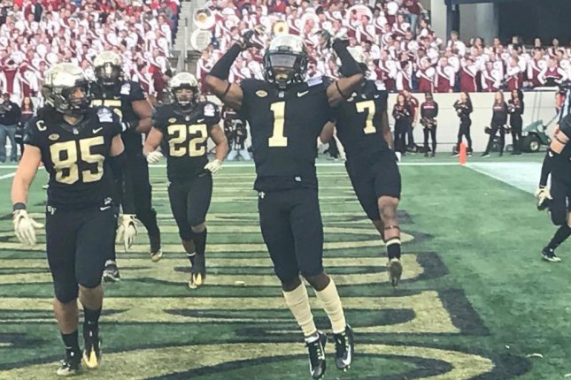 The Wake Forest football team celebrates its victory. (Wake Football/Instagram)