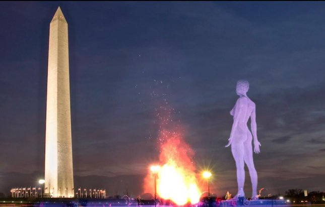 A group is seeking $90,000 to help transport a 45-foot-tall statue of a nude woman to the Washington Mall, where it will stand for four months at the center of a vigil to raise awareness for the Equal Rights Amendment. Screen capture/Catharsis Onthemall/Vimeo