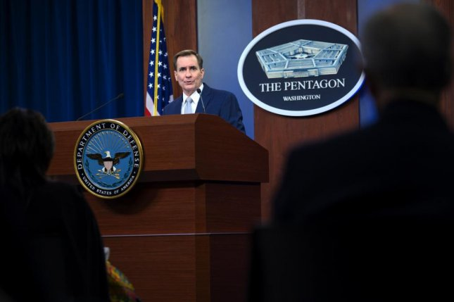 Pentagon Press Secretary John F. Kirby briefs the Pentagon press corps Monday. Photo courtesy Department of Defense