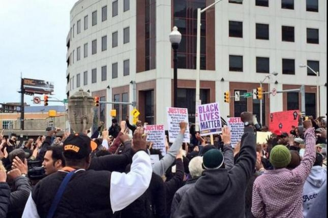 Protesters upset about the death of Freddie Gray, who received a fatal injury April 12 while being transported to a police station, plan larger demonstrations for Saturday, April 25, 2015, that they hope will shut down the city of Baltimore. Photo: @deray/Twitter.
