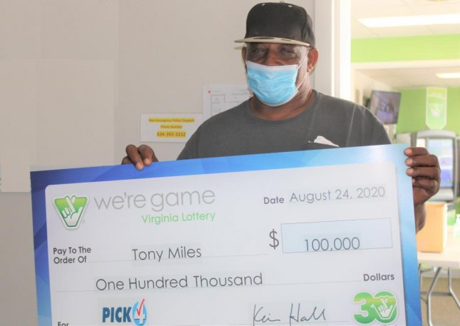 Virginia resident Tony Miles bought 20 identical tickets for a Pick 4 drawing and each ended up winning a $5,000 top prize, earning Miles a total $100,000. Photo courtesy of the Virginia Lottery