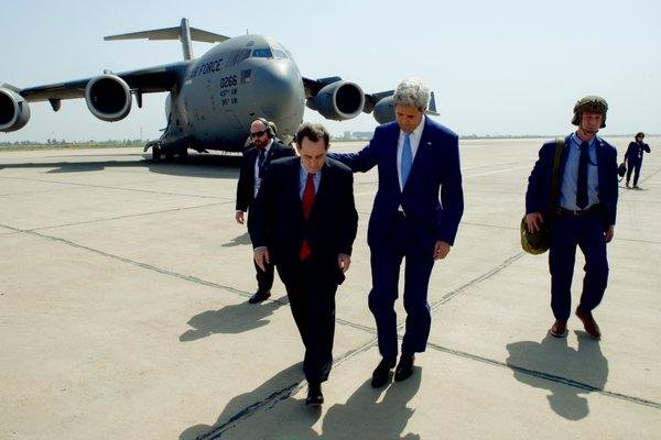U.S. Secretary of State John Kerry (C) arrived in Baghdad Friday, his first visit to Iraq in 18 months, to show support for the government of Iraqi Prime Minister Haider al-Abadi. Photo courtesy the U.S. State Department