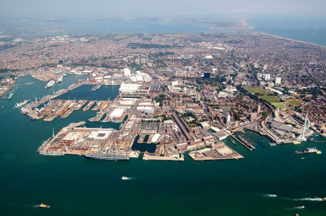 The naval dockyard in Portsmouth, pictured, has been upgraded to handle new aircraft carriers and is expected to be in use by the end of 2017. U.K. Ministry of Defense photo.