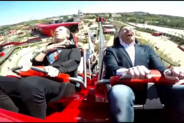 A rider on the Red Force roller coaster in Spain collides with a pigeon during the Ferrari Land park's opening day Friday. Screenshot: ValeRocks/YouTube
