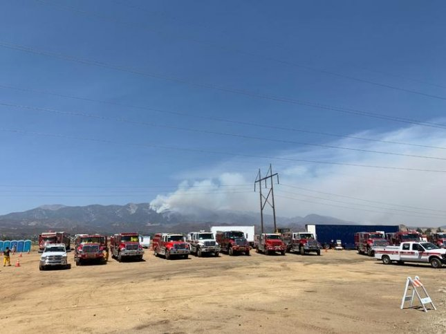 The Apple Fire doubled in containment to 30% on Wednesday and evacuations some parts of California were lifted. Photo by San Bernadino National Forest/Twitter