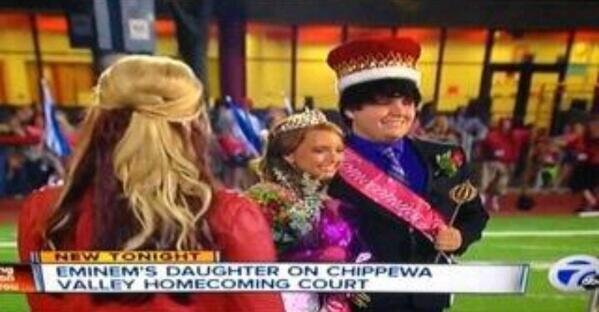 Hailie Scott, the daughter of rapper Eminem, was crowned homecoming queen at her Michigan high school. /News7
