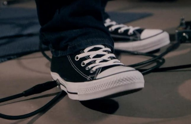 Converse's new Chuck Taylor All Wah sneaker features micro-sensor technology that allows the shoe to act as a guitar pedal. The sneaker which was adapted by wearable tech company Cute Circuit from a prototype developed by Critical Mass in 2013 during a Chuck Hack event. Screen capture/Converse/YouTube
