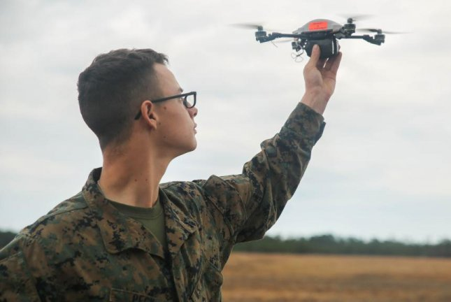 The Instant Eye unmanned aerial system is designed for ground-based reconnaissance missions around buildings and other confined areas. U.S. Marine Corps photo by Sgt. Lucas Hopkins