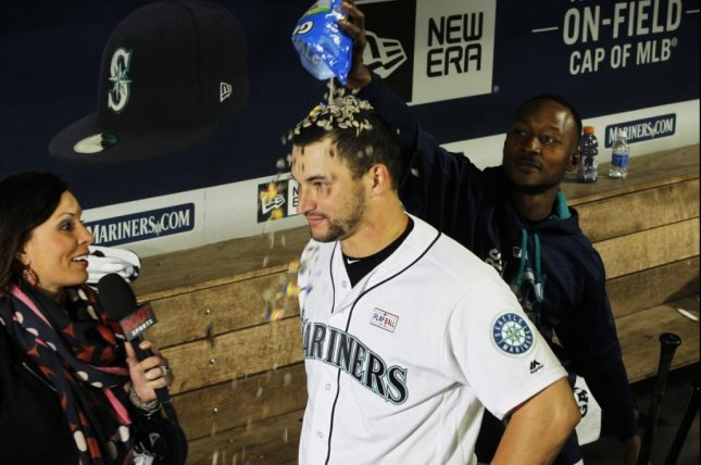 It was a night for celebrating Mike Zunino whose towering grand slam lifted the Mariners past the Rays. Photo courtesy Seattle Mariners/Twitter