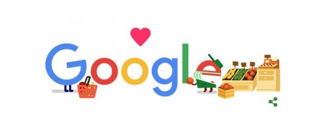 Google is recognizing grocery workers with a new Doodle. Image courtesy of Google