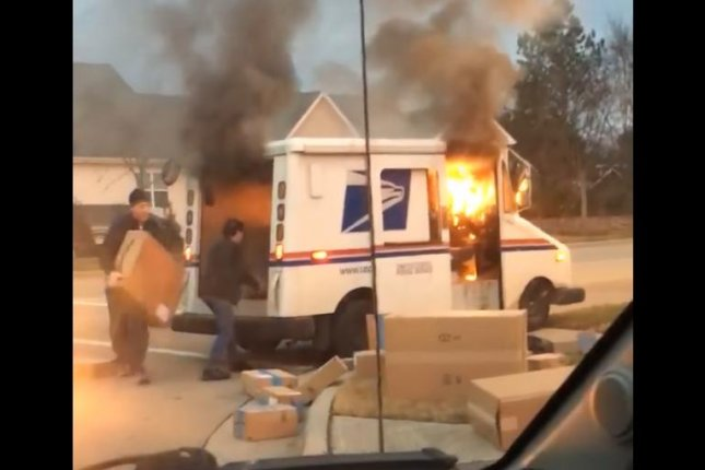 Watch Mail Carrier Rushes To Save Packages From Usps Truck Fire
