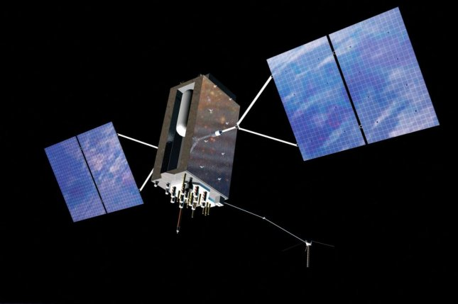 An artist's rendering of a new GPS III satellite, which is expected to be the most advanced, secure version of the system launched by the U.S. Air Force. Photo courtesy of Lockheed Martin